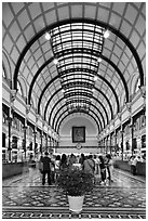 Inside colonia-area Central Post Office. Ho Chi Minh City, Vietnam ( black and white)