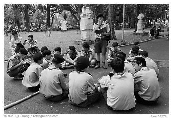 Boy Scouts, Cong Vien Van Hoa Park. Ho Chi Minh City, Vietnam (black and white)