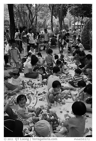 Playgound, Cong Vien Van Hoa Park. Ho Chi Minh City, Vietnam (black and white)