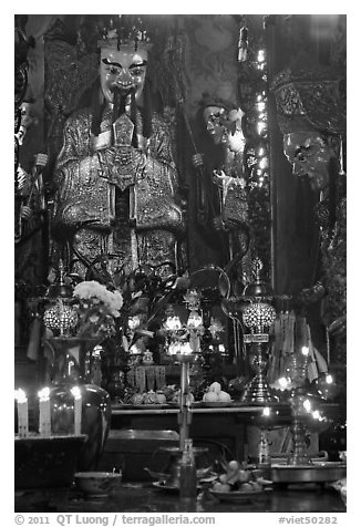 Taoist Jade Emperor (King of Heaven), Phuoc Hai Tu pagoda, district 3. Ho Chi Minh City, Vietnam (black and white)