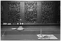 Carved wooden panels Hall of the Ten Hells, Jade Emperor Pagoda, district 3. Ho Chi Minh City, Vietnam (black and white)