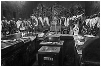 Room with figures of 12 women, each examplifying a human characteristic, Jade Emperor Pagoda, district 3. Ho Chi Minh City, Vietnam (black and white)