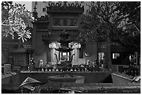 Jade Emperor Pagoda at dusk, district 3. Ho Chi Minh City, Vietnam (black and white)