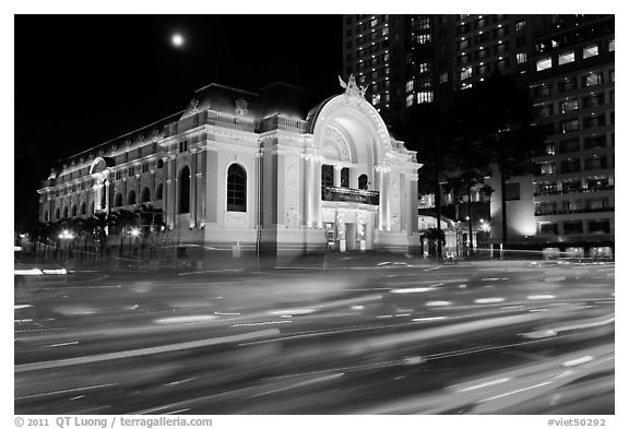 Light trails and Municipal Theater at night. Ho Chi Minh City, Vietnam (black and white)