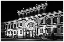 Central Post Office facade at night. Ho Chi Minh City, Vietnam ( black and white)