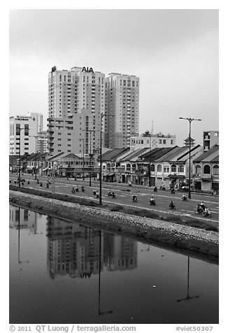 Newly developped banks of the Saigon Arroyau. Cholon, Ho Chi Minh City, Vietnam (black and white)