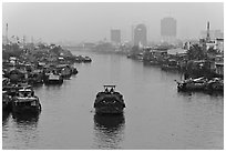 Te Channel. Ho Chi Minh City, Vietnam ( black and white)