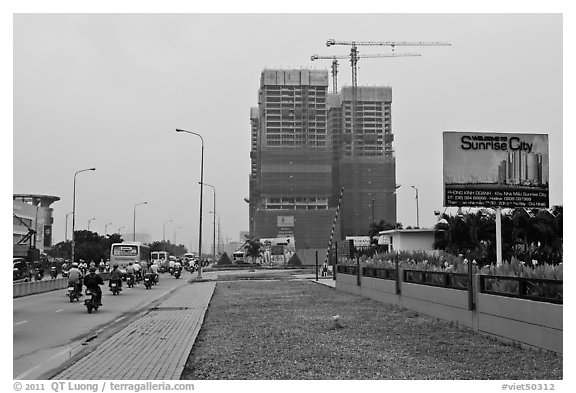 High rise buidings in construction, Phu My Hung, district 7. Ho Chi Minh City, Vietnam (black and white)