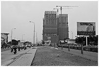 High rise buidings in construction, Phu My Hung, District 7. Ho Chi Minh City, Vietnam ( black and white)