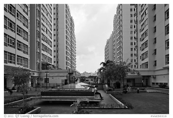 Residential towers, Phu My Hung, district 7. Ho Chi Minh City, Vietnam (black and white)