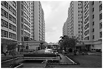 Residential towers, Phu My Hung, district 7. Ho Chi Minh City, Vietnam ( black and white)