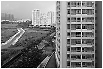 Recent residential high-rise appartment buildings, Phu My Hung, District 7. Ho Chi Minh City, Vietnam ( black and white)