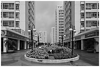Residential towers complex, Phu My Hung, District 7. Ho Chi Minh City, Vietnam ( black and white)