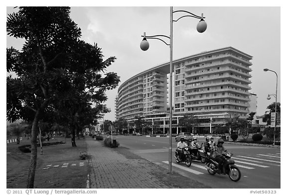 Phu My Hung Urban Area, district 7. Ho Chi Minh City, Vietnam (black and white)