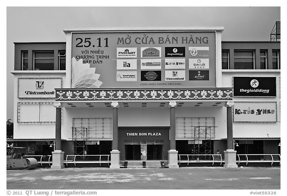 Shopping plaza, Phu My Hung, district 7. Ho Chi Minh City, Vietnam (black and white)