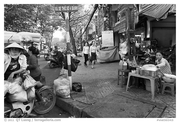 Street food vendors. Ho Chi Minh City, Vietnam (black and white)