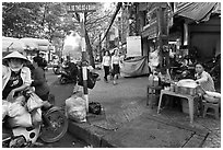 Street food vendors. Ho Chi Minh City, Vietnam ( black and white)