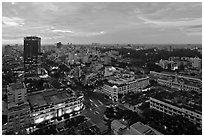 Elevated city view at dusk from Sheraton. Ho Chi Minh City, Vietnam (black and white)
