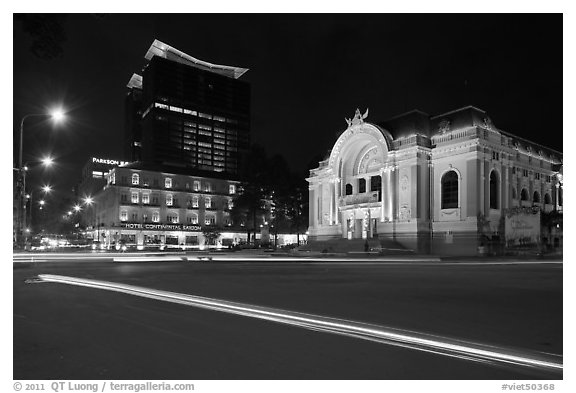 Opera House and Hotel Continental at night. Ho Chi Minh City, Vietnam (black and white)