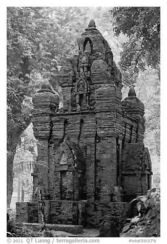 Small-scale model of Cham tower, Tao Dan Park. Ho Chi Minh City, Vietnam (black and white)