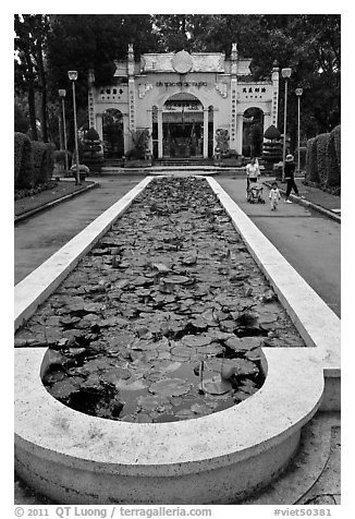 Waterlilly basin and temple gate, Cong Vien Van Hoa Park. Ho Chi Minh City, Vietnam (black and white)