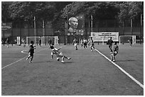 Soccer match, Cong Vien Van Hoa Park. Ho Chi Minh City, Vietnam (black and white)