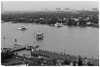 Ferry crossing the Saigon River. Ho Chi Minh City, Vietnam (black and white)