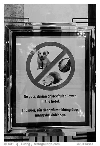 Hotel sign prohibiting smelly tropical fruits. Ho Chi Minh City, Vietnam