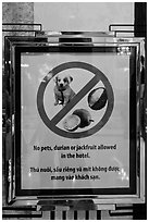 Hotel sign prohibiting smelly tropical fruits. Ho Chi Minh City, Vietnam ( black and white)
