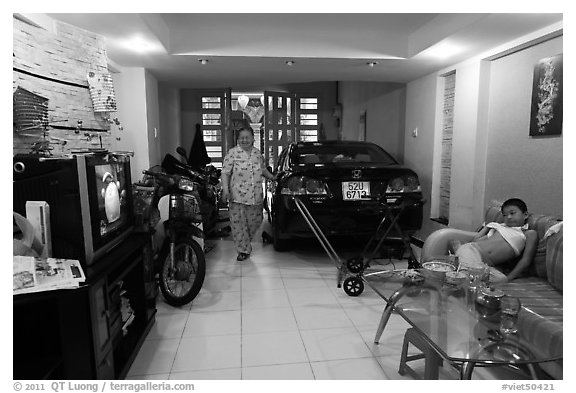 Black and white picture photo living room used as car and for Living room garage