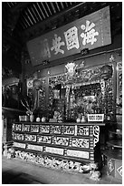 Altar, Ha Chuong Hoi Quan Pagoda. Cholon, District 5, Ho Chi Minh City, Vietnam (black and white)
