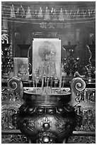 Urn and incense, Ha Chuong Hoi Quan Pagoda. Cholon, District 5, Ho Chi Minh City, Vietnam (black and white)