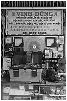 Electric repair store. Cholon, Ho Chi Minh City, Vietnam (black and white)