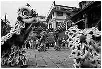 Dragon dance, Thien Hau Pagoda, district 5. Cholon, District 5, Ho Chi Minh City, Vietnam ( black and white)