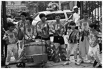 Dragon dance drummers, Thien Hau Pagoda. Cholon, District 5, Ho Chi Minh City, Vietnam (black and white)