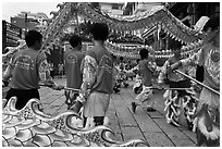 Dragon dancers, Thien Hau Pagoda. Cholon, District 5, Ho Chi Minh City, Vietnam ( black and white)