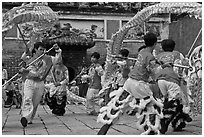 Traditional dragon dance, Thien Hau Pagoda, district 5. Cholon, District 5, Ho Chi Minh City, Vietnam ( black and white)