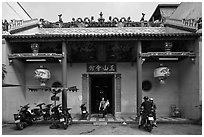 Facade, Tam Son Hoi Quan Pagoda. Cholon, District 5, Ho Chi Minh City, Vietnam ( black and white)