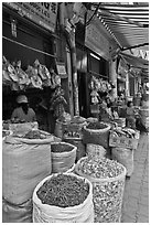 Shops selling traditional medicinal herbs. Cholon, Ho Chi Minh City, Vietnam ( black and white)