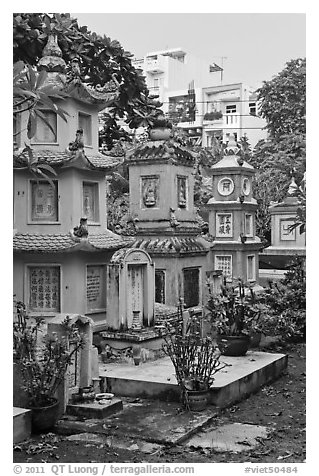Tombs, Giac Lam Pagoda, Tan Binh District. Ho Chi Minh City, Vietnam (black and white)