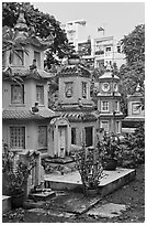 Tombs, Giac Lam Pagoda. Ho Chi Minh City, Vietnam (black and white)