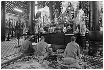 Buddhist monks perform ceremony, Giac Lam Pagoda, Tan Binh District. Ho Chi Minh City, Vietnam (black and white)
