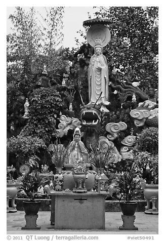 Statues and fountain, Giac Lam Pagoda, Tan Binh District. Ho Chi Minh City, Vietnam (black and white)