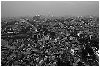 View of Cholon, from above at dusk. Cholon, Ho Chi Minh City, Vietnam ( black and white)