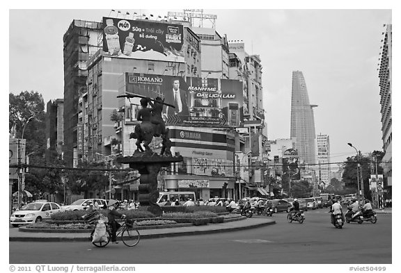 Traffic circle. Ho Chi Minh City, Vietnam (black and white)