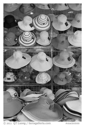 Colorful hats for sale. Ho Chi Minh City, Vietnam (black and white)