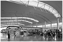 Main concourse, Tan Son Nhat International Airport. Ho Chi Minh City, Vietnam (black and white)