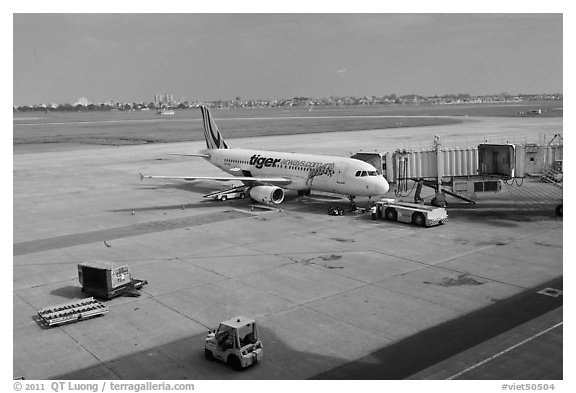 Tarmac, Tan Son Nhat International Airport. Ho Chi Minh City, Vietnam (black and white)