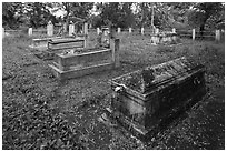 Luong family cemetery, Ben Tre. Mekong Delta, Vietnam (black and white)