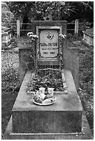 Tomb with fruit and refreshments offering. Ben Tre, Vietnam ( black and white)
